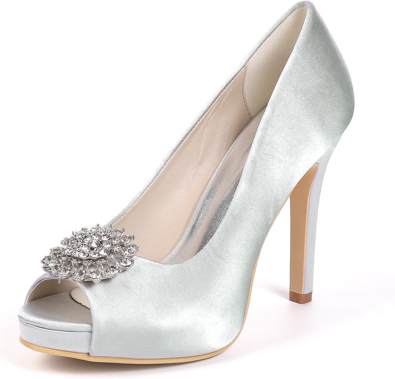 Layearn Frauen Hochzeit Schuhe Braut Toe Plattform High Heels Prom Court Schuhe Peep Toe Satin Strass