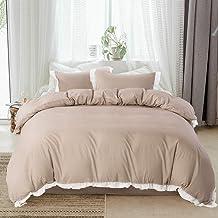 HYPREST Queen Duvet Cover Set - 3 Pcs Lightweight Soft Ruffled Beige Striped Comforter Cover Bedding Set with Zipper Closu...