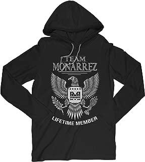 Team Monarrez Lifetime Member Family Surname Long Sleeve Hooded T-Shirt for Families with The Monarrez Last Name
