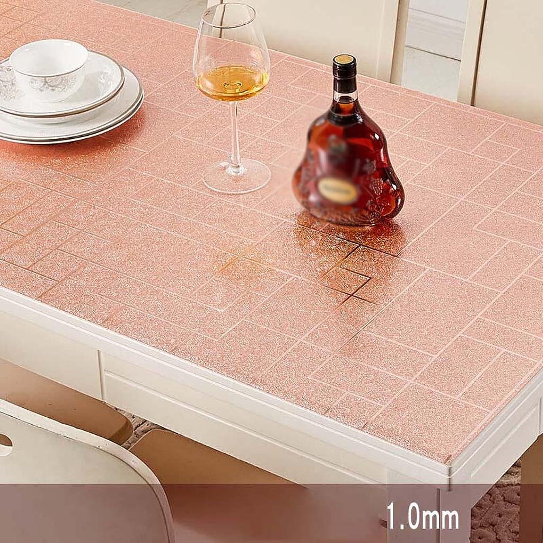 ZHOU Rosa PVC-Wasserdichte Tischdecke Anti-Heißöl-weiche Glasplastik-Tabellen-Auflage B07BHLNB92 Schönes Aussehen  | Schön geformt