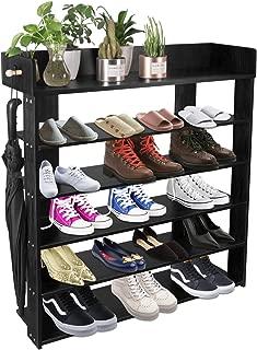 5-Tire Entryway Closet Shoe Rack Shoe Storage Cabinet Shelf (Black)