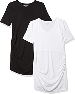 Amazon Essentials Women's Maternity 2-Pack Short-Sleeve Rouched V-Neck T-Shirt