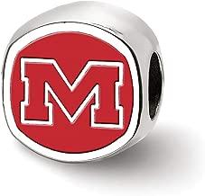 Bonyak Jewelry Sterling Silver LogoArt U of Mississippi Cushion Shaped Double Logo Bead