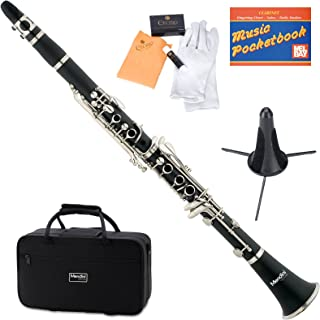 REAWOW B Flat Clarinet 17 Nickel Keys Treble Bakelite Black Ebonite Clarinet Import Material WoodWind Instrument with 2 Mouthpiece Connectors 10 Reeds Carry Case Care kit and More