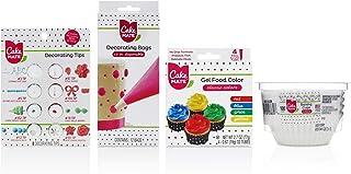 Cake Mate Decorating Tool Kit - 4-Piece Set Includes: Decorating Tips, Disposable Decorating/Piping Bags, 4 Gel Food Color...