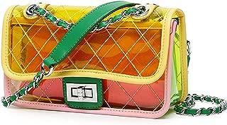 TOLOER Womens Clear jelly Shoulder Bag PVC Turn Lock Chain Crossbody Purse for Women