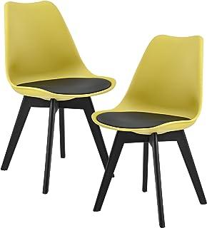 [en.casa] Set de 2 sillas de Comedor (Mostaza/Negro) Set para Comedor/salón/Juego de sillas para Cocina
