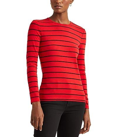 LAUREN Ralph Lauren Petite Striped Cotton-Blend Top (Lipstick Red/Polo Black) Women