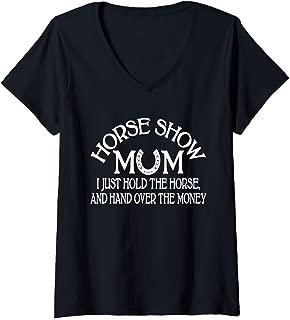 Womens Horse Show Mom Princess Western Lover Equestrian Mother Gift V-Neck T-Shirt