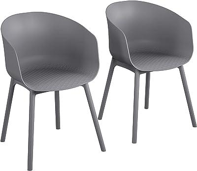 Novogratz Poolside Collection, York XL, Interior/Exterior, 2 Unidades, sillas de Comedor de carbón