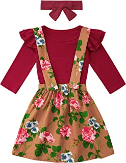 Toddler Girls Outfits 3PCS Long Sleeve Ruffle Top+Floral Suspender Skirt with Headband Fall Winter Clothes 12M-5T