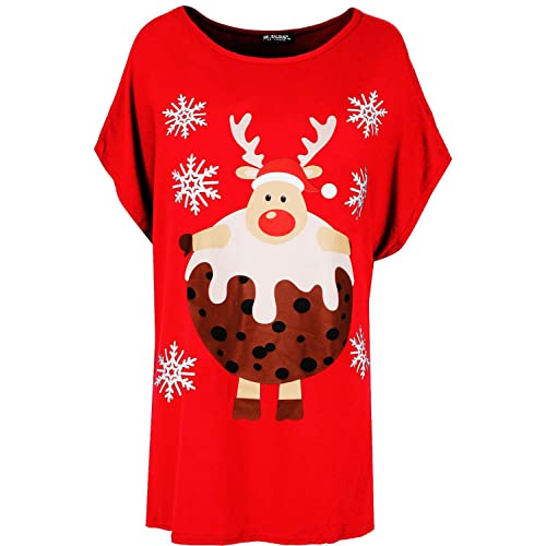 08412b1c29263 Be Jealous Womens Ladies Christmas Baggy Reindeer Pudding Oversized Batwing Xmas  T Shirt UK Plus Size