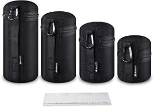 Lens Case Pouch Bag for DSLR Camera Lens (Fit for Canon, Nikon, Sony, Olympus, Panasonic) 4 Pack