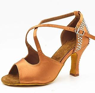 Dames Latin Dansschoenen met Bruin Satijn Rhinestone Stijl Hoge Hakken Salsa Ballroom Dansende Schoenen Hak 8.5cm