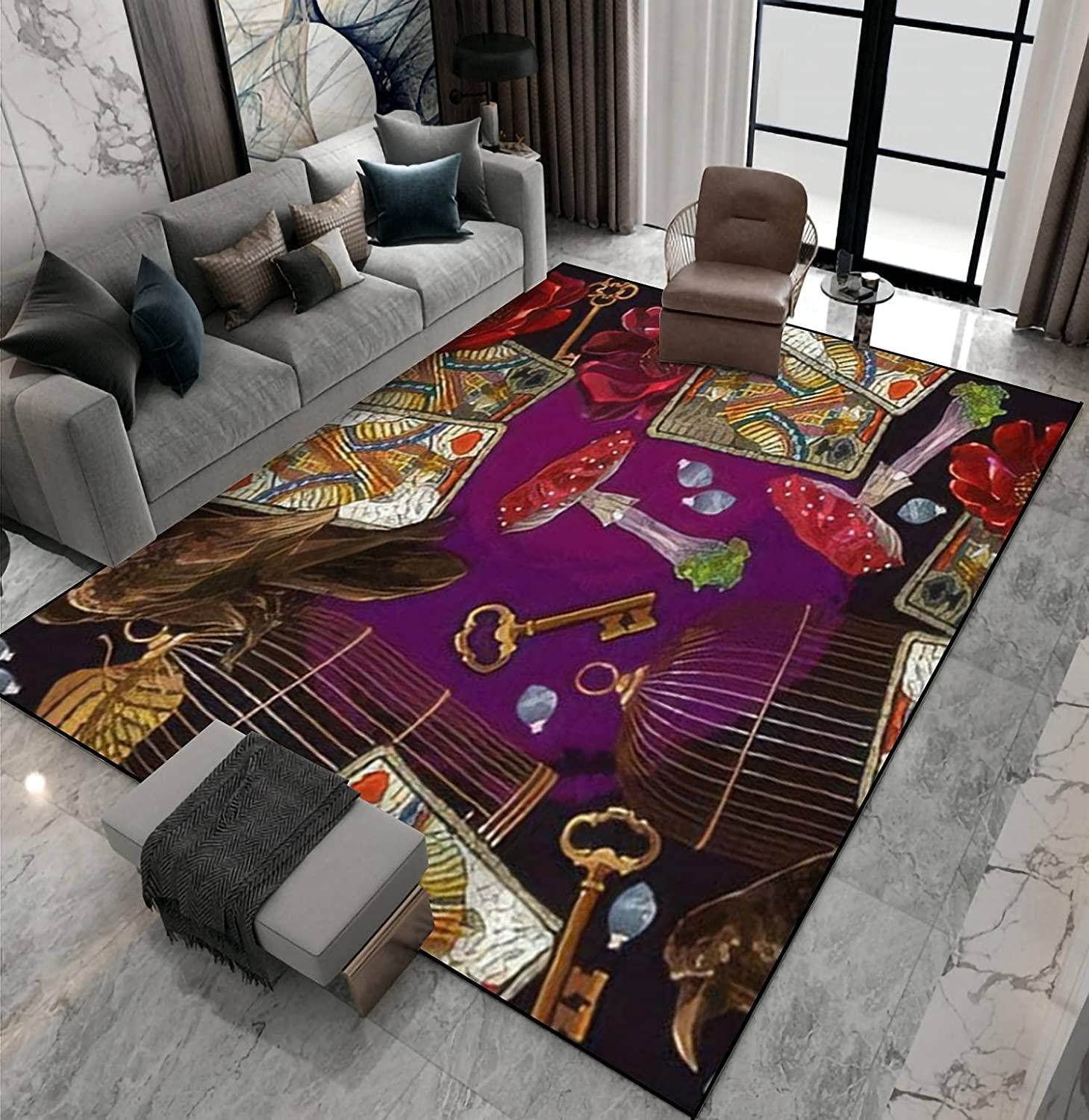 Ranking TOP6 Area Rug Non-Slip Floor Mat V Playing Cards Online limited product Embroidery Mushrooms