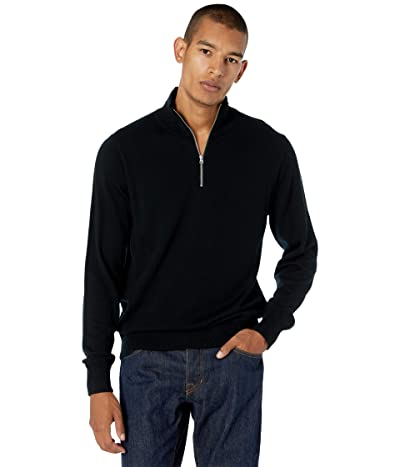 J.Crew Washable Merino Wool Half-Zip Sweater (Black) Men