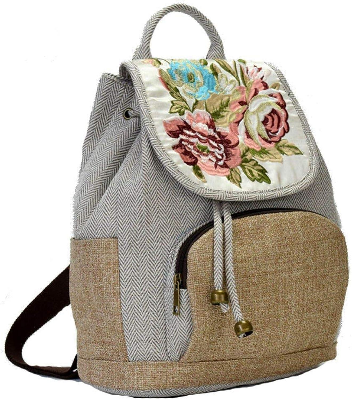 HUYANNABAO Vintage Women Backpack Floral Embroidered Backpack Canvas Shoulder Bag Travel Linen Rucksack Schoolbag Woman