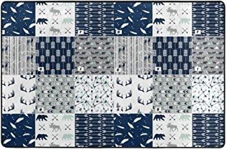 Doormat Navy Woodland Deer Mountain Arrows Buffalo Carpet Outdoor Indoor Rubber Door Mats Non Slip Area Rugs for Front Door Kitchen Bedroom Garden Home 36 X 24 in