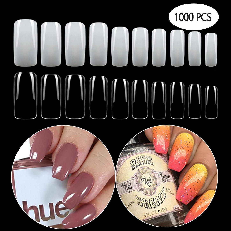 類似性修理工うるさいGCOA 1000枚入れ ネイルチップ 偽爪 つけ爪 ネイル用品 10サイズ ショート デコレーション 無地 付け爪 練習用 爪にピッタリ 卵形 短い (500透明+500自然)