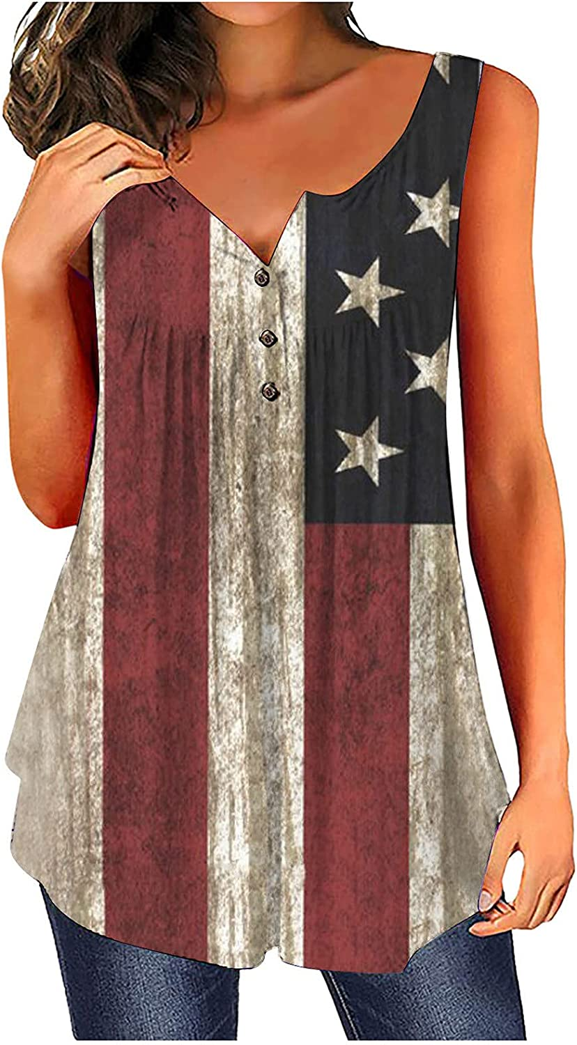 957 Independence Day Women Tank Tops Button Round Neck Sleeveless T Shirts America Flag Loose Printing Vest