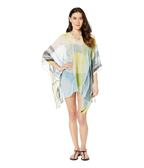 Calvin Klein Abstract Cloud Chiffon Poncho Cover Up Top At Zappos Com
