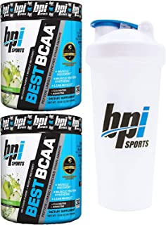 BPI Sports Best BCAA Peptide Linked Branched Chain Amino Energy Powder, 10.58oz, Pack of Two 30 Servings (Green Fusion 2 x 30svg) with Official BPI Shaker