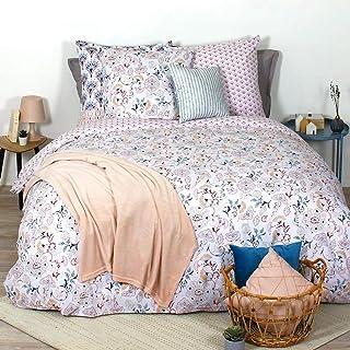 Côté Déco Parure de lit imprimée Housse de Couette 100% Coton Bio* 240x220 cm Rose Belize