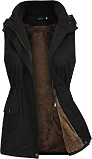 FISOUL Womens Lightweight Sleeveless Military Hooded Anorak Drawstring Jacket Vest with Fur Lining