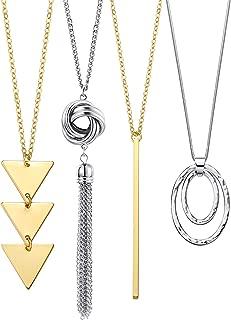 Long Pendant Necklace Set, Layer Simple Bar Necklace Tassel Y Strands for Women