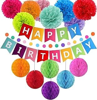 Ibaye - Kids Birthday Decorations, Colorful Rainbow Birthday Party Decoration for Children Baby Birthday Supplies, Happy Birthday Banner, Tissue Paper Pompoms,Lantern, Garland