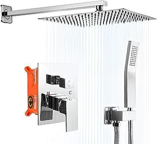 Airuida 12 Inch Square Chrome Polish Shower Faucet Rough-in Valve Bathroom Luxury Wall Mount SUS304 Ultra-thin Rainfall Sh...