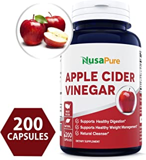 Apple Cider Vinegar 1000MG 200 Capsules (Non-GMO & Gluten Free) Tasteless - All Natural Detox, Digestion, Weight Management & Powerful Cleanser - Extra 1350mg Vitamin B-6 & Lecithin
