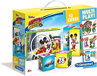 Clementoni Multi Play Cubes Disney Mickey And The Road 12-Pieces Puzzle, Multi-Colour