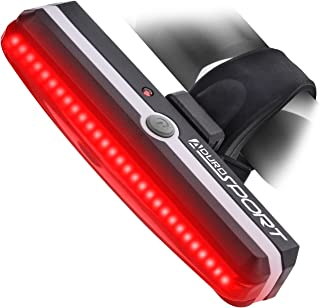 Aduro Sport LED Rear Bike Light USB Rechargeable - Ultra Bright Powerful Safety Taillight, 6 Light Mode Options, One Touch Mount and Dismount, IPX4 Waterproof, for All Bikes