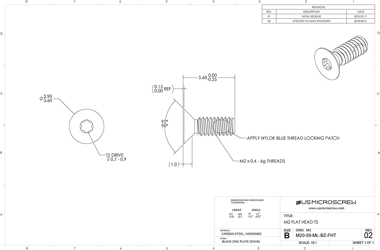 M2-0.4 X 5.6mm Machine Screw with Zinc shopping OFFer Black Lock Thread Plated