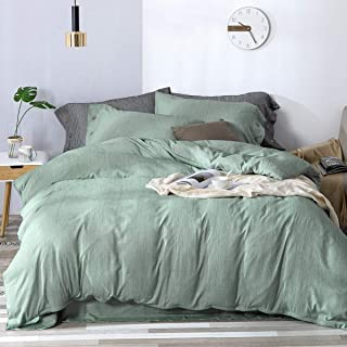MIMONG Microfiber Zipper Closure Duvet Cover with Coconut Button Pillowcases, Soft Luxury Hypoallergenic & Breathable Easy Care Bedding Set(Green, Queen) (90''×90'')