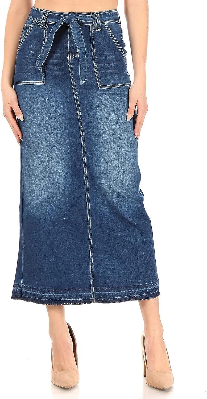 Fashion2Love Women's Juniors/Plus Size Long Pencil Stretch Denim Skirt