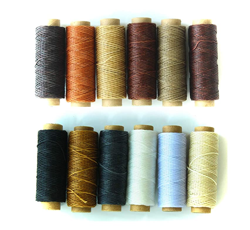 ALL in ONE 12pcs 150D Leather Sewing Waxed Thread Cord for Hand Sewing Leather DIY and Bookbinding Material Accessories (White Brown Gray Black)