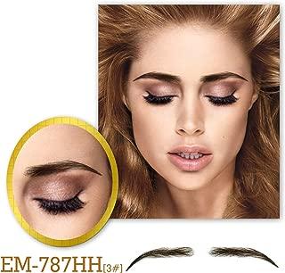 Vlasy One Pair Women's Handmade False Eyebrows Lace Base Human Hair Fake Eye Brows(EM-787-3#)