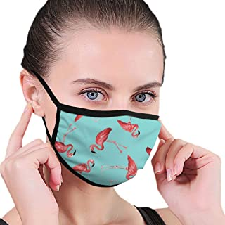 YongColer Fashion Earloop Mouth Mask, Anti-Dust Anti Flu Pollenm Mouth-Muffle with Adjustable Elastic Band - Windproof Flamingos in Blue Half Face Mouth Mask