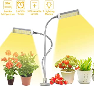50w Growing Light, 100 LEDs Dual Head Plant Heat Lamp Auto On/Off Plant Growing Light with Desk Clip and 3/6/12H Timer 2-Switch Mode 6-Brightness Setting for Seedling & Veg.