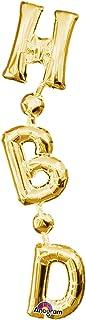 Burton & Burton 4815336G Happy Birthday Gold Vertical Foil/Mylar Balloon