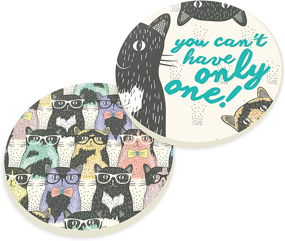 Cat Crazy You Can T Only Have One 2 Piece Ceramic Car Coasters Set