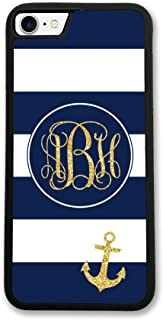 iPhone 6 6S Case, Simply Customized Phone Case Compatible iPhone 6 6S [4.7 inch] Navy Blue Stripes Nautical Anchor Monogram Monogrammed Personalized IP6S