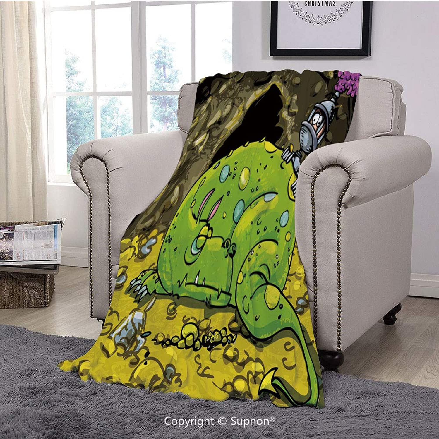Throw Blanket Super Soft Fuzzy Light Blanket,Dragon,Cute Creature Sleeping on A Pile of gold and Scared Knight Peering Over Kids Cartoon,Multicolor(51  x 51 )