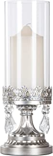 Amalfi Décor Antique Silver Metal Candle Holder with Glass Hurricane Vase, Crystal Draped Pillar Stand Accent Display