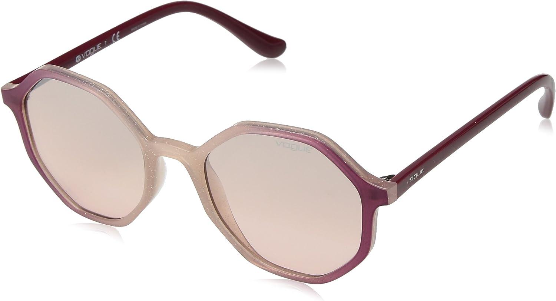 VOGUE Women's 0vo5222s NonPolarized Iridium Round Sunglasses OPAL PINK GLITTER 52 mm