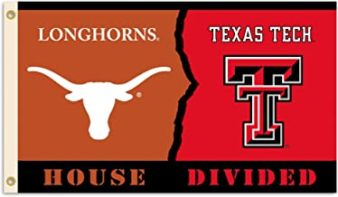 BSI NCAA Texas Tech Red Raiders/Texas Longhorns 3 Ft. X 5 Ft. Flag with Grommets - Rivalry House Divided, Team Colors, one...