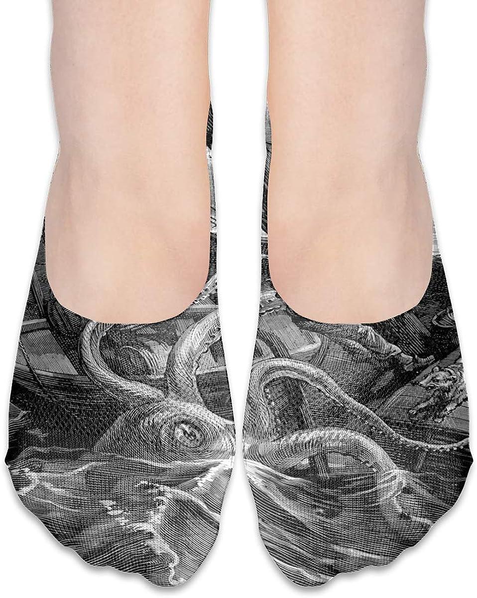 No Show Socks Women Men For Octopus Sea Monster Flats Cotton Ultra Low Cut Liner Socks Non Slip