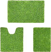 HOMEIDEAS 3 Pieces Bathroom Rugs Set Green, Luxury Soft Chenille Bath Mats Set, Absorbent Shaggy Bath Rugs & Slip Resistan...